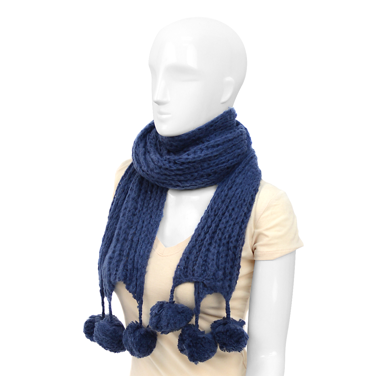 12pc Acrylic Navy SWEATER Knit Winter Scarf with Pom Tassels - AS10