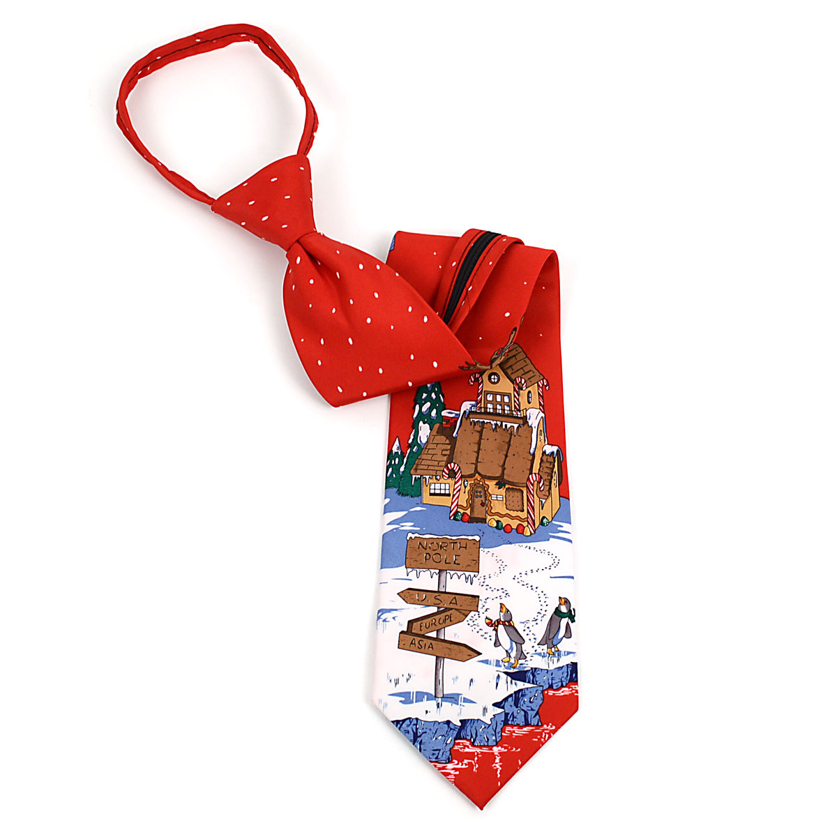 Poly CHRISTMAS Zipper Neck Tie PZX4603-RD