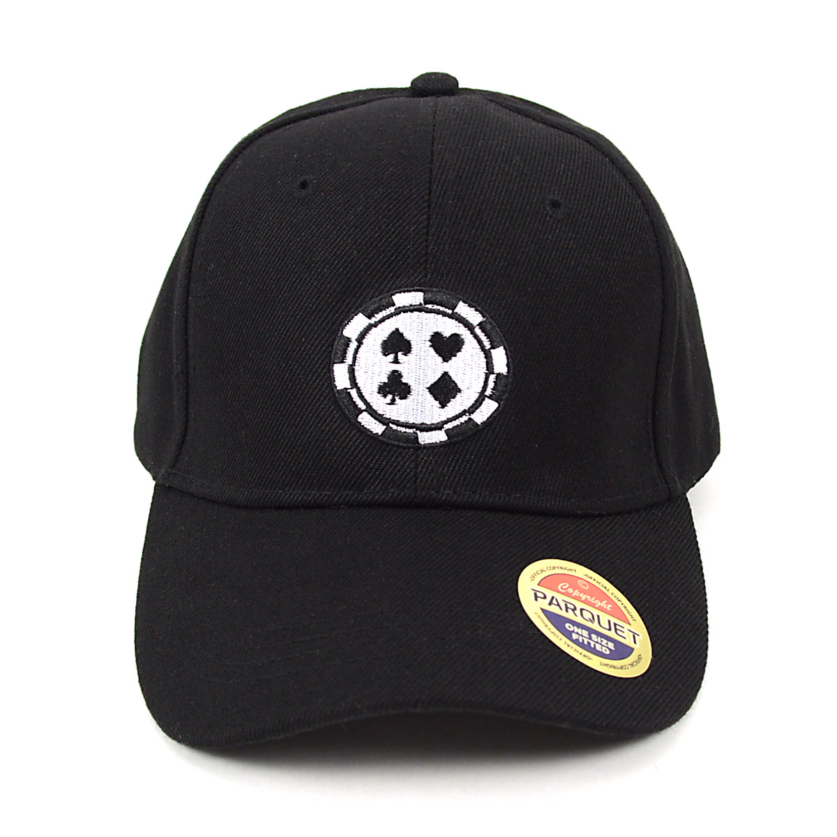 Four CARD Suits Black Embroidered BASEBALL Cap