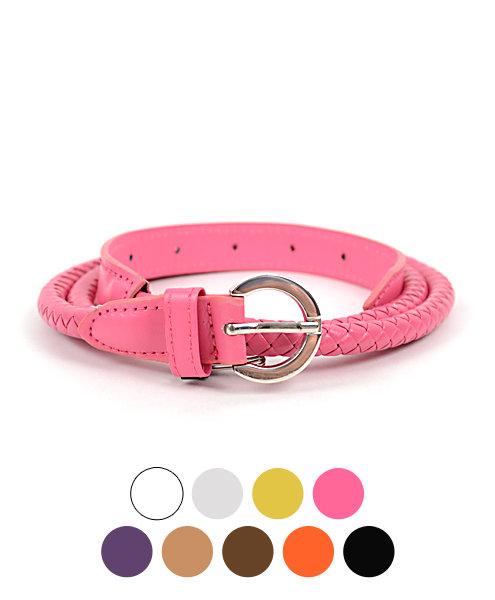 12pc Women's Solid Color LEATHER Skinny Braided Belt HW2010