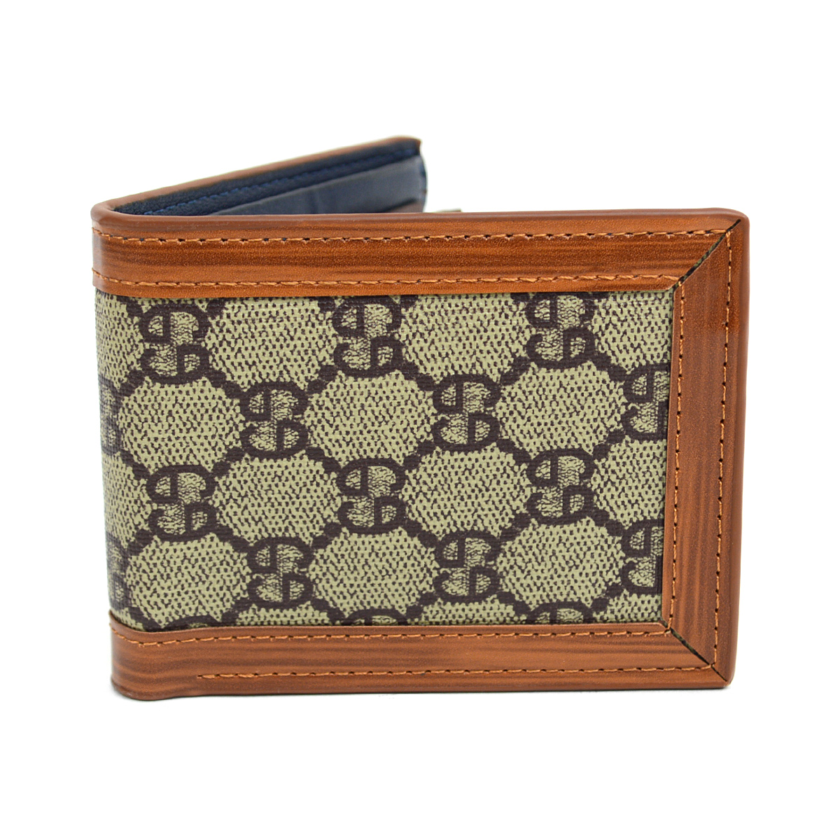 Bi-Fold Designer-Print Wallet with LEATHER Trim MLW5181