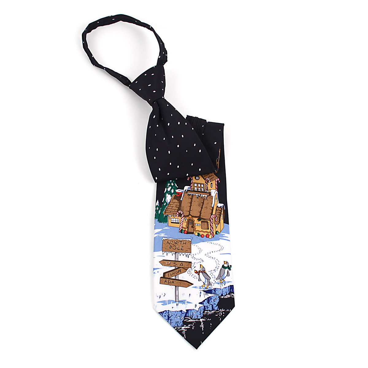 Poly CHRISTMAS Zipper Neck Tie PZX4603-BK
