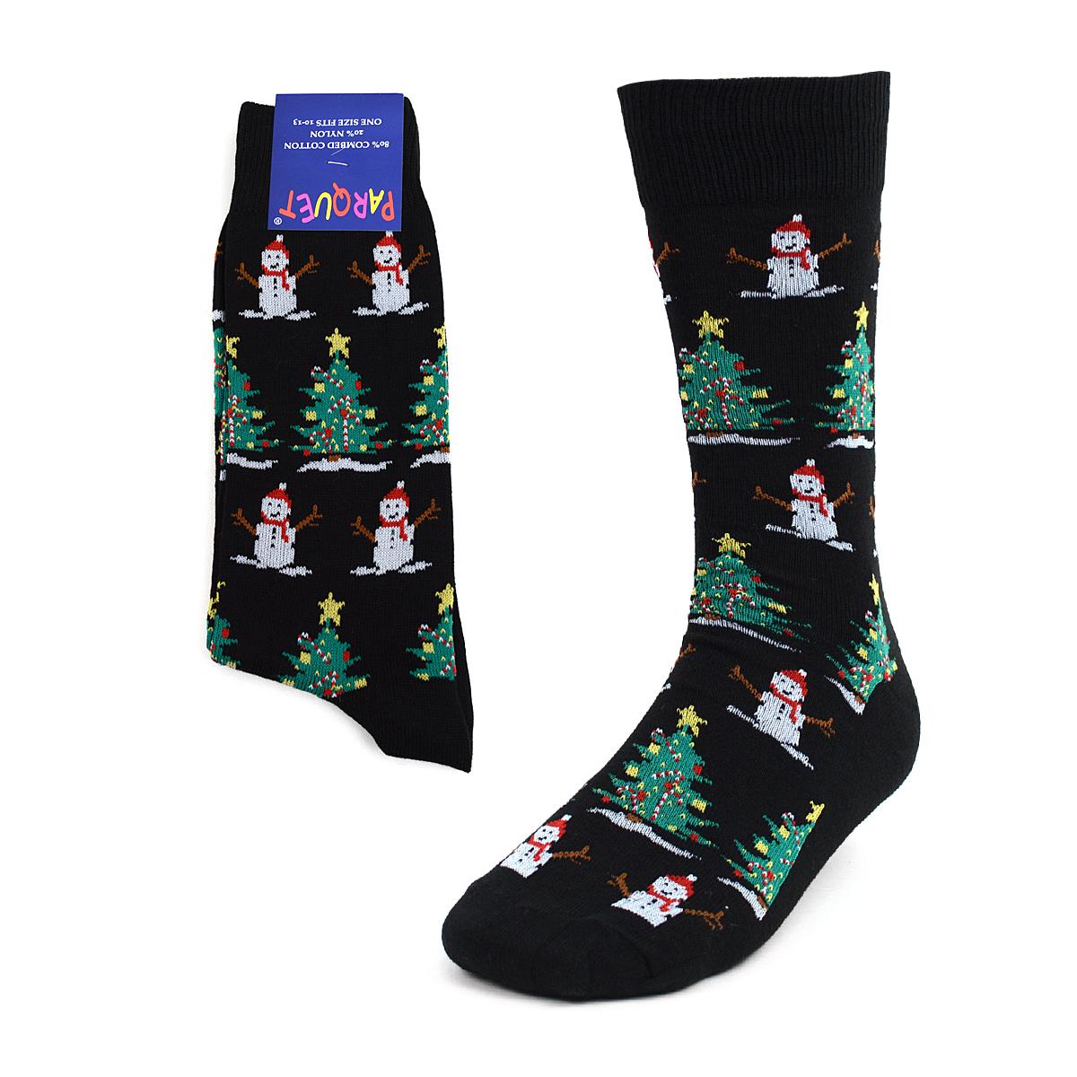 Men's CHRISTMAS Tree & Snowman Black Novelty Socks