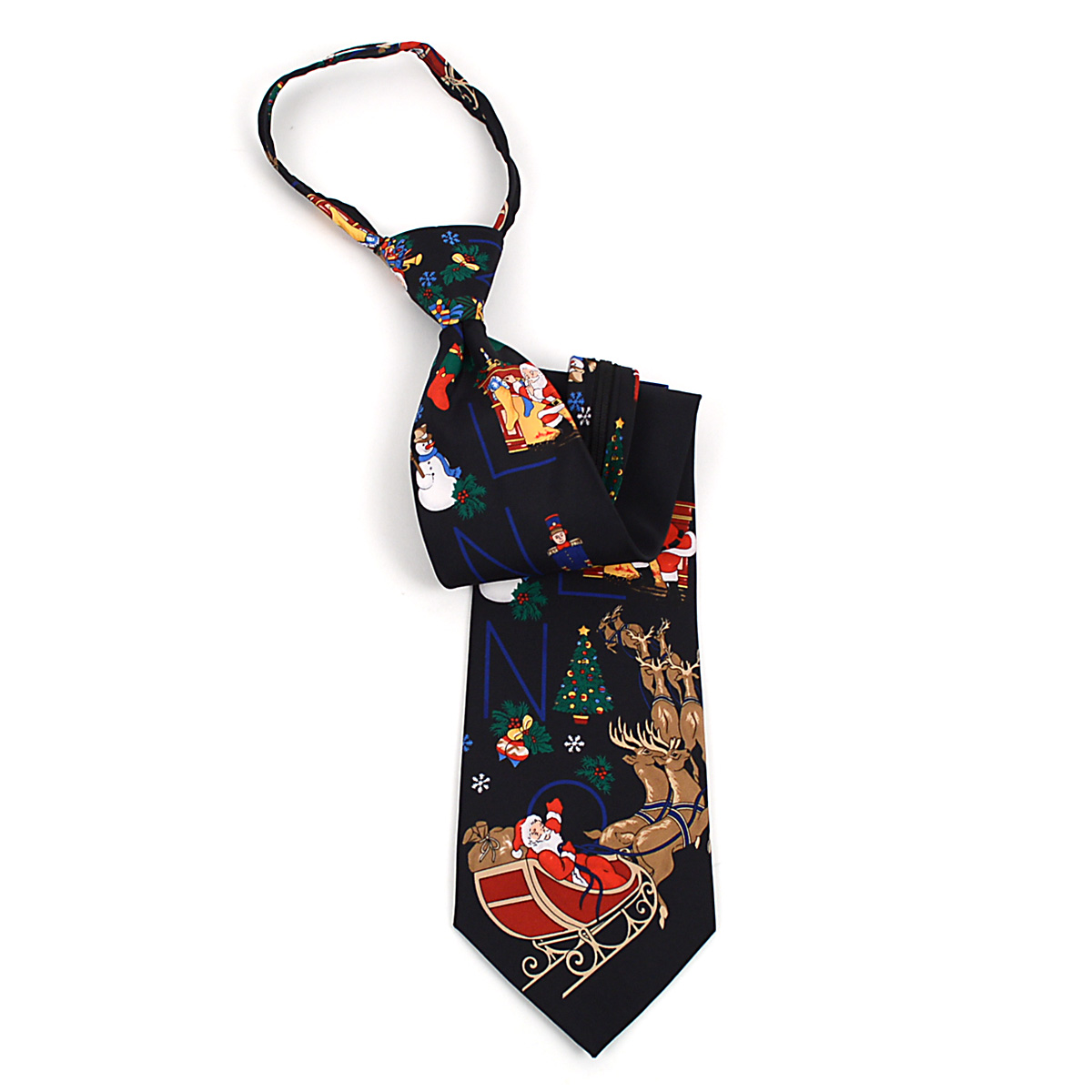 Poly CHRISTMAS Zipper Neck Tie PZX4600-BK