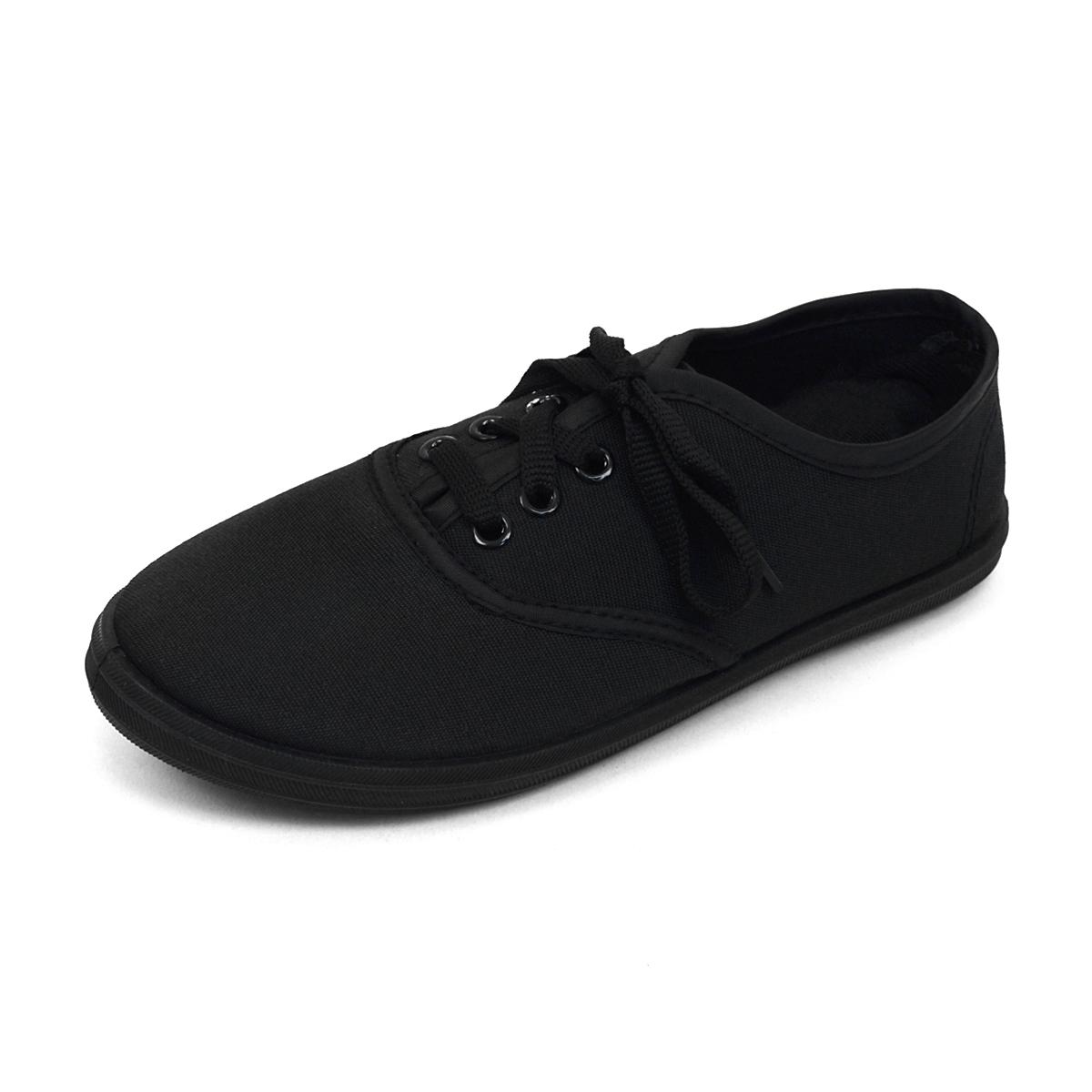 18pcs Women's Canvas Flat Black Casual Shoes SNEAKERS