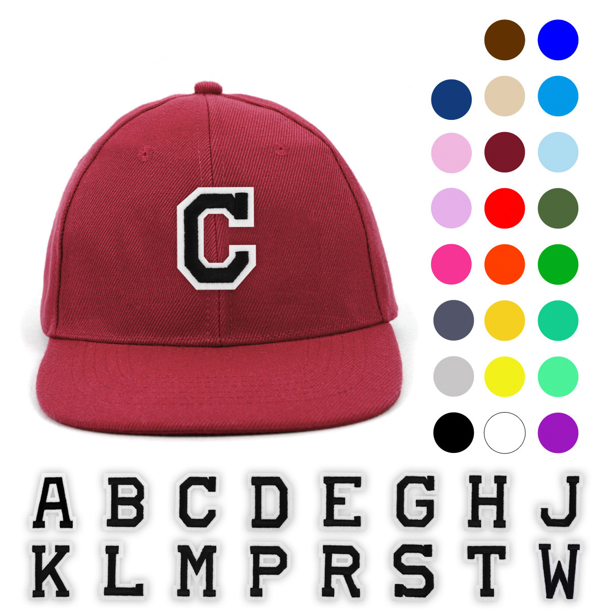 ''Varsity Letter Initials Promotional Solid Blank Embroidery Patch BASEBALL Cap, Hat''