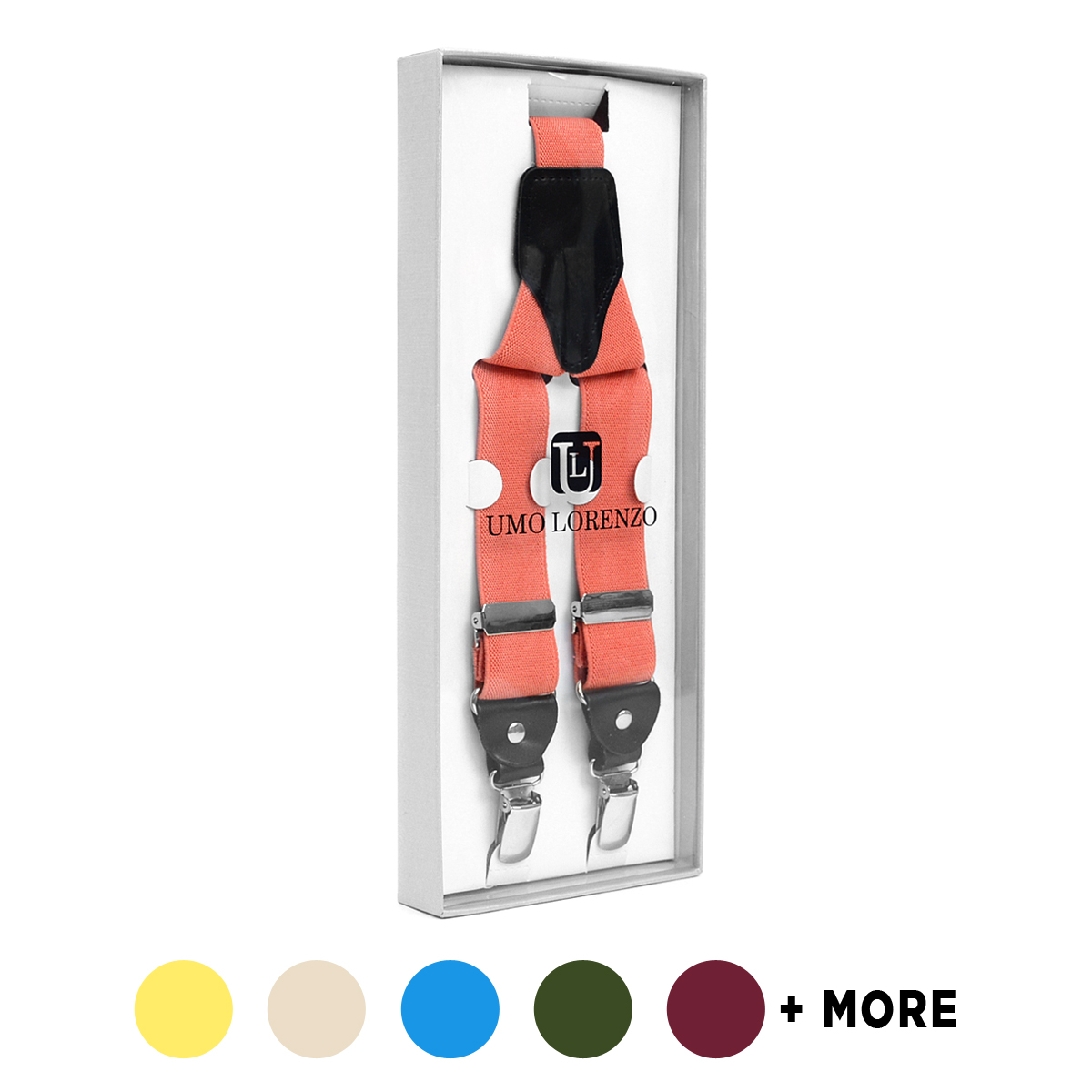 Men's Boxed Clip-On Suspenders with LEATHER Trim CLSB