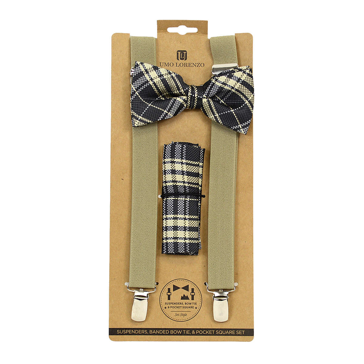 ''3pc Men's Taupe Brown Clip-on SUSPENDERS, Bow Tie and Hanky Sets FYBTHSU23''