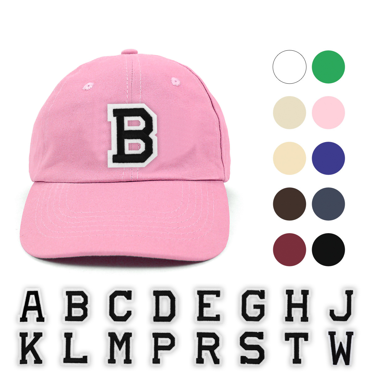 ''Varsity Letter Initials Traditional Cotton Twill Embroidery Patch Blank BASEBALL Cap, Hat''