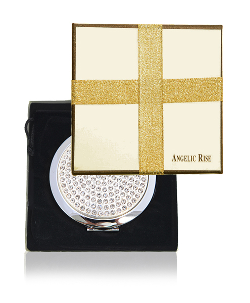 Round COMPACT Makeup Magnifying MIRROR with Color Crystals S457