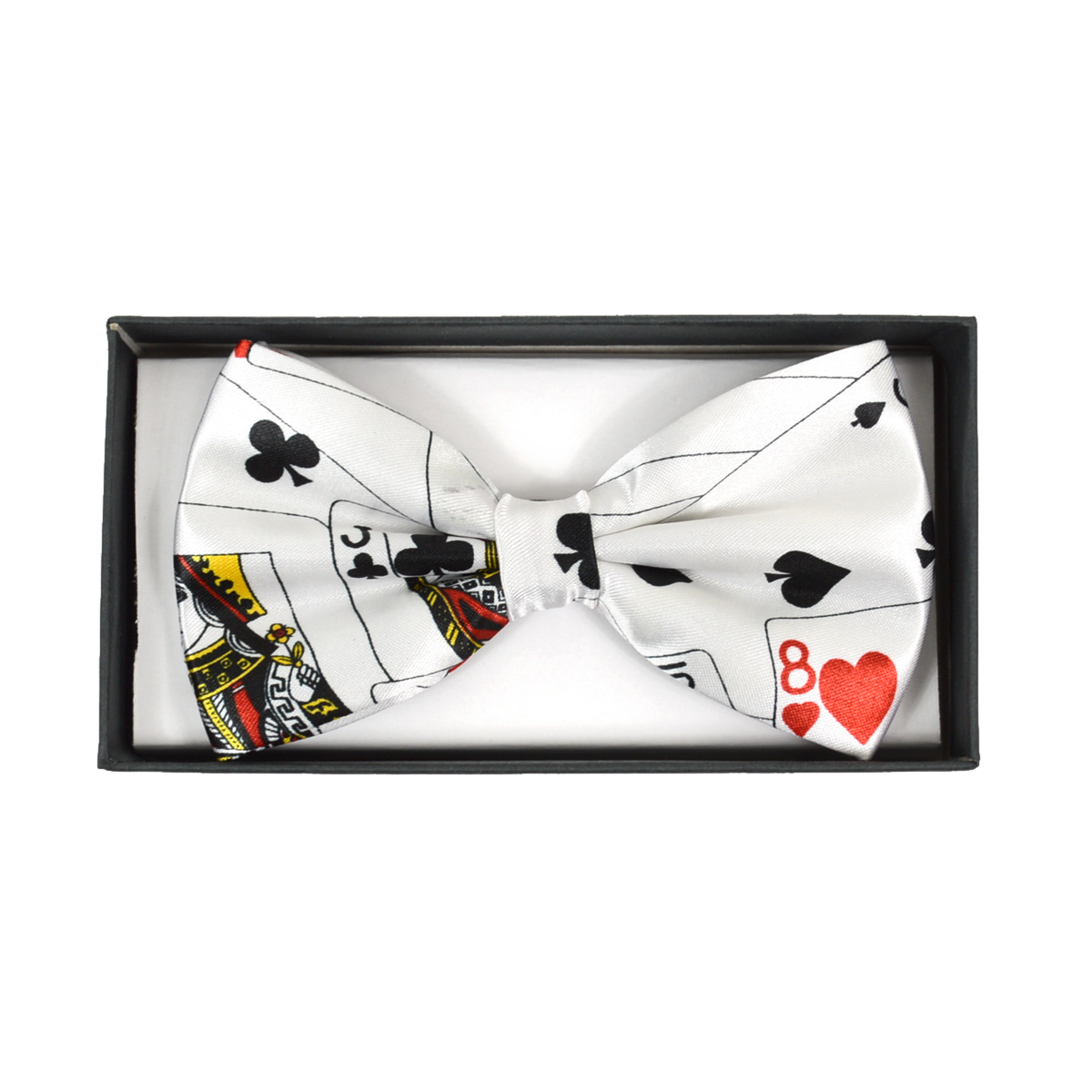 Men's PLAYING CARD White Banded Bow Tie
